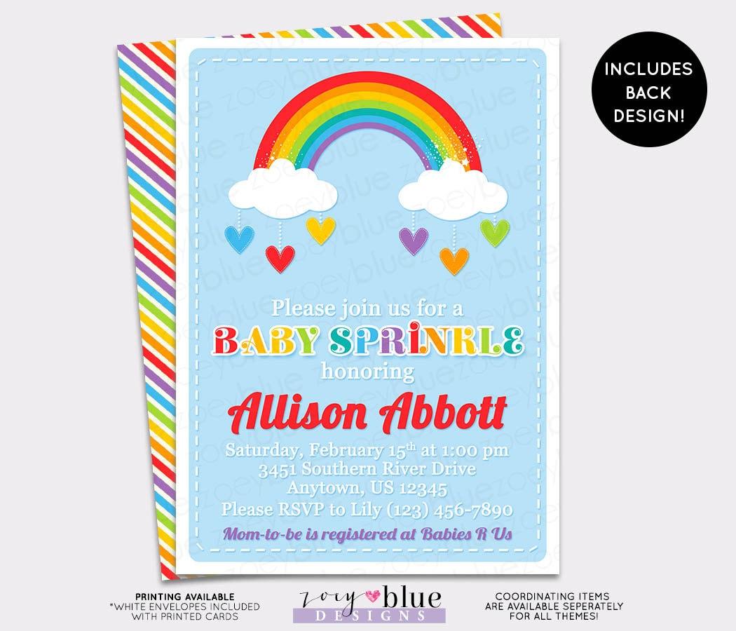 Baby Sprinkle Invitation Rainbow Baby Shower Invite Twin