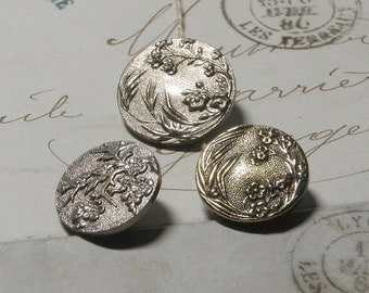 3 French Buttons PARIS BACK  Buttons Tight Top Buttons White Metal