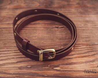 Leather belt, brown belt, riveted belt, woman belt, skinny belt, waist belt, narrow belt, woman leather belt + small bonus!