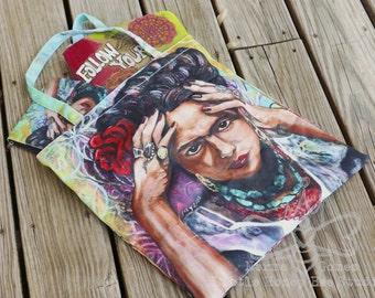 Frida Kahlo Bag - Large Frida Tote Bag - Frida Kahlo Wearable Art - Frida Purse - Book Bag - Shopping Bag - Gifts for Her - Chicana Art