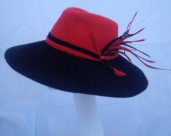 Casual Black and Red Rabbit Furfelt Wide Brim Fedora Hat Handmade Millinery Autumn Winter  2016/2017 Season