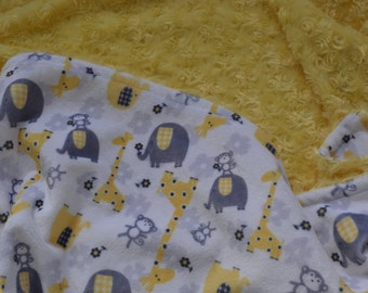 Yellow, Grey and White Animal Print Baby Blanket 28x34... Neutral Minky Baby Blanket With Giraffes, Elephants and Monkeys