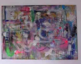 Original, abstract acrylic and spray paint painting. Large canvas.Neon, colourful painting.Graffiti.Free UK shipping!