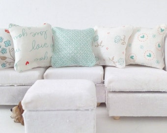Country Dollhouse Pillows, 5 Piece Aqua,White & Coral Pillow Set 1:12 Pillow Set, Rustic Fashion Doll Pillow, Fashion Doll Miniature Pillows