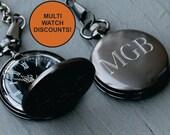 Custom Pocket Watch - Groomsmen Gift - Personalized Pocket Watch - Engraved Pocket Watch - Best Man Gift - Mens Pocket Watch - Gunmetal
