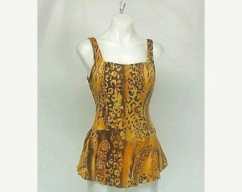 SALE Vintage Tribal Leopard Print Skirt Swimsuit by Cole of California