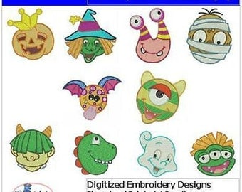 Embroidery Design CD - Funny Monsters(1) - 10 Designs - 9 Formats - Threadart