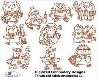 Embroidery Design CD - Owls(2) - 10 Designs - 9 Formats - Threadart