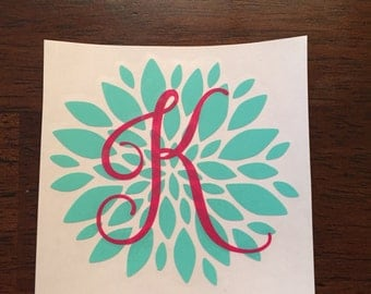 Flower Initial Decal for Yeti, Ozark Trail, Rtic, Wine Glass, Notebook