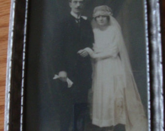 Vintage Early 1900's Framed Wedding Photo