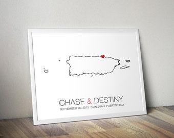 Puerto Rico - Modern Style Personalized Map Art Print - Custom Wedding guest book Wedding gift Bridal shower gift Housewarming gift