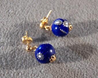 Vintage Italian Venetian Murano Millefiori Art Glass Pierced Hoop Earrings Jewelry **RL