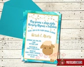 Sheep Baby Shower Invitation | Gold | Card | Digital | Print file | Baby Shower | Baby Shower Invitation | Sheep | Watercolor | Baby