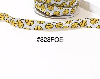 "3 or 5 yard - 5/8"" Sport Softball White Fold Over Elastic Headband Hair Accessories"