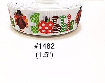 "3 or 5 yard - 1.5"" Thanksgiving Turkey Gobble White Grosgrain Ribbon Hair bow"