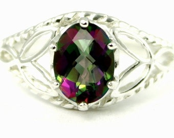 Valentines Sale 30% Off, SR137, Mystic Fire Topaz, 925 Sterling Silver Ring