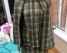 Vintage 1960s olive welsh tapestry cape and skirt uk 10 12 EUR 36 38 USA 6 8