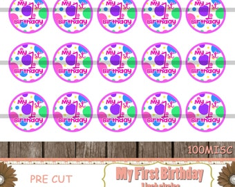 PRE CUT-My 1st Birthday,Babys First,Bottle Cap Images,Precut Images,Cupcake Toppers,Party Supplies,Pendant Supplies,One Inch Circle(100MISC)