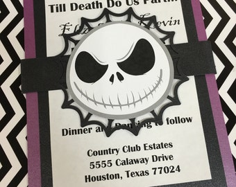Nightmare Before Christmas Invitations • Halloween Invitations • Wedding Invitations • Jack Skellington invitations • Envelopes Included