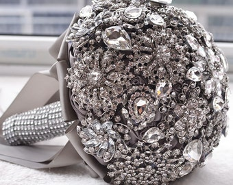Gray Brooch Wedding Bouquet, Bride Wedding Bouquet, Crystal wedding bouquet FREE SHIPPING