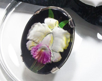 Vintage Orchid brooch, glass, 70, glass painting,.