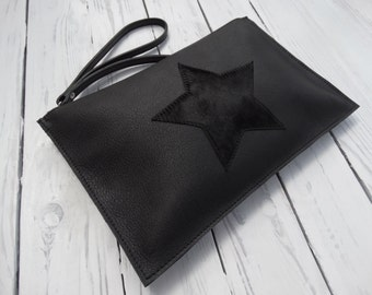 Leather Wristlet Clutch/Black Leather Zipper Pouch/Leather Star Bag/Ready to ship