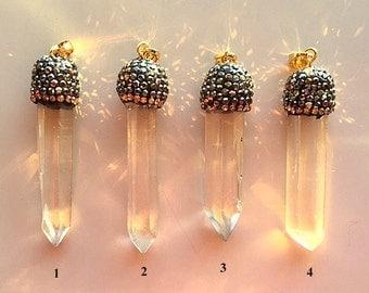 Quartz Crystal Wands With Pave Caps - Pendants or Necklaces