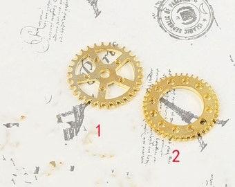 DIY  jewelry 25pcs antiqued gold plating 16k gold gear charm pendant 25mm