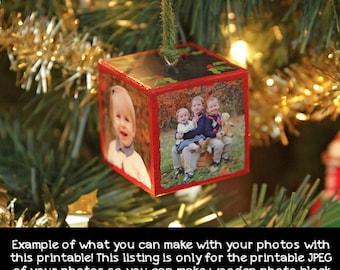 Photo Ornament DIY, Digital FIle of your photos, custom ornament, photo block ornament, wood block ornament, wood blocks, photo printable