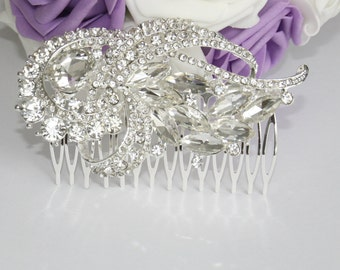 Bridal rhinestone flower hair comb