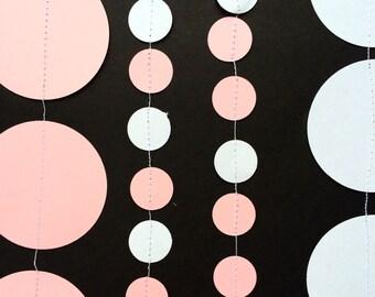 Circle Garland Round Backdrop Pink White
