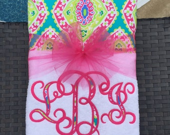 Fun with Florals!!! Bright and Bold Embroidered! Beach Towel or Lounge Chair Towel
