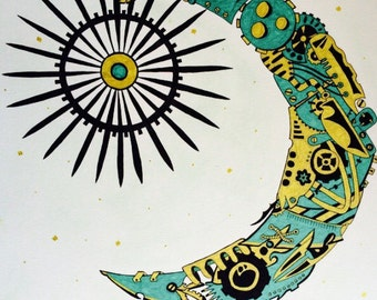 Steampunk moon and stars zentangle/doodle hand drawn poster picture A3