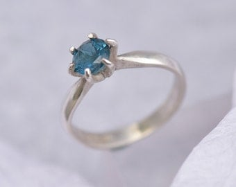 Blue Topaz Ring, Sterling Silver Ring with Blue Topaz, London Blue Topaz, Blue Ring, December Birthstone