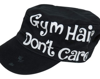 """NEW! White Glitter """"Gym Hair Don't Care"""" Black Vintage Style Distressed Look Cadet Cap"""