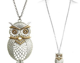Owl Necklace, Long Owl Necklace, Owl Statement Necklace, Owl Lovers Necklace, Bird Necklace