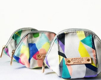 SALE - contemporary canvas women's coin purse/ make up pouch / purse - milano - mini