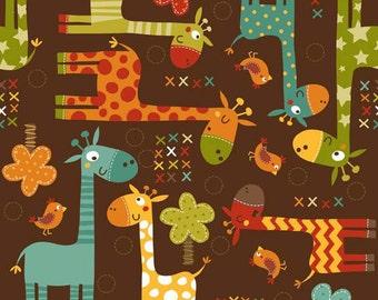 Giraffe Crossing Main Brown C2850-Brown by Riley Blake Designers for Riley Blake Designs
