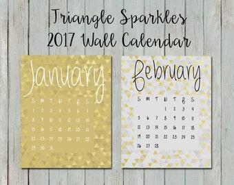 40% OFF 2017 Wall Calendar, 6 months, June-December, sparkle triangles, geometric, decor, present, birthday, gift, blue, green, gold,