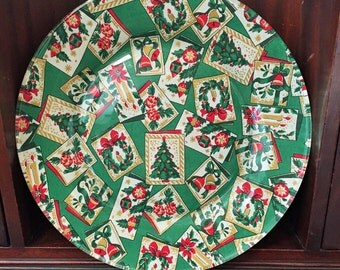 Hand Decorated Glass Christmas Vintage Green Fabric Decoupage Plate