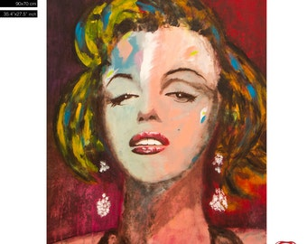 "FREE WORLDWIDE SHIPPING - Marylin Monroe Portrait - (90x70cm) 35.4""x27.6"" acrylic painting ready to hang, hand painting by Carlos Pun"
