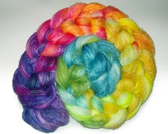 Rainbow Nebula - SW Merino Bamboo Nylon Combed Top Roving - One 100g braid