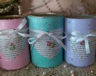 3 Shabby Cottage Chic Painted Tin Cans..Pink, Lavender, Teal..Book Page Heart Art, Glitter..Vases, Centerpieces Teacher Gift for Her Decor
