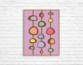 Mid-Century Modern Nursery Art, Childrens Room Art.  giclee fine art print decor mother's day gift birthday anniversary wedding housewarming