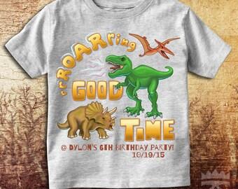 Roaring Good Time Boy's dinosaur customizable T-Shirt
