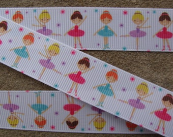 "7/8"" Ribbon 3 Yards - Dancing girls-Ballerina girls white Grosgrain Ribbon-Perfect for Bows Clips Scrap booking Sewing"