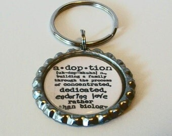 Definition Adoption  Metal Flattened Bottlecap Keychain Great Gift