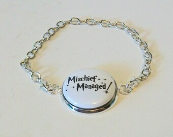 Black and White Mischief Managed Quote Harry Potter Inspired Silver Chain Fashion Bracelet