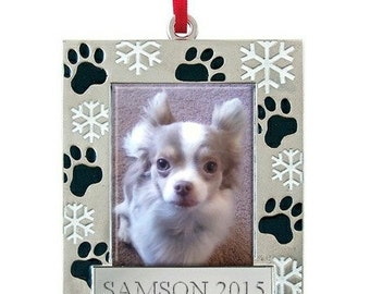 Pet Paws Photo Frame Ornament, Gift for Pet Lovers, Christmas, Engraved, Personalized