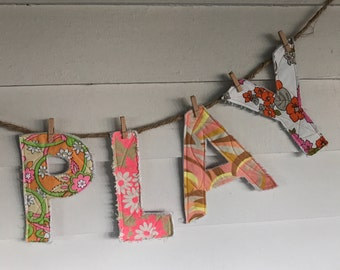 PLAY colorful quilted letters for display or play, nursery decor, childrens room, baby shower decor, upcycled, reclaimed